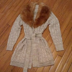 Cable Knit Cardigan with Fur Collar